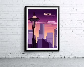 Seattle Skyline Illustration Print, Poster, Art, Wall Art, Typography