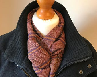 Mens winter scarf, orange soft wide scarf, long striped scarf, handmade fashion accessory, gift for him