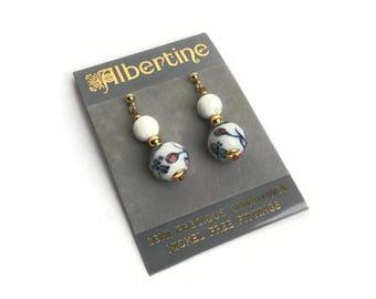 Unused Vintage Earrings   Vintage Glass And Howlite Drop Earrings   Pierced Ears   1980s   Original Packaging   Semi Precious Stones