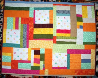 SALE Bright Patchwork Toddler Quilt Baby Quilt with Polka Dots and Bubbles
