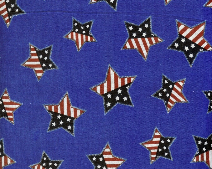 Glitter flag stars on blue background. 100% cotton fabric sold by ( multiple lengths)  #60