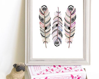 Though Very Humble : Three Feathers Multicolor Southwestern 8x10 Print