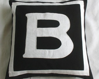 black and white initial pillow. Decorative  monogram pillow. with the choice of  your monagram and colour.18 inch custom made letter pillow