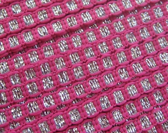 3 Yards Delicate Narrow Metallic Trim In Pink And Silver VT 100
