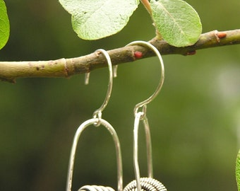 Coil Ball Trapeze Earrings