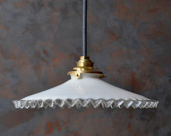 Antique french ceiling light in white opalescent glass, pendant lamp, opaline light