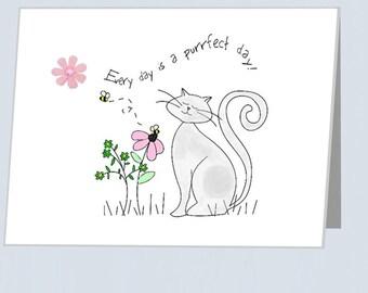 Purrfect day - flower and rhinestone embellishment - blank card - Cats, bee Greetings, Birthday, Birthdays, card for boyfriend girlfriend