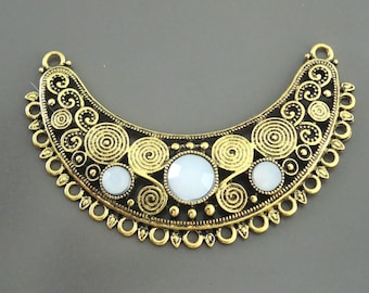 Cresent Moon Pendant Tribal White Faux Opal Antique Gold Brass Conwnector Ornate Necklace Finding Ethnic Jewelry Component Necklace