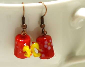Red and Yellow Coffee Mug with flowers Glass Lampwork Bead Earrings - Women's Coffee Shop Jewelry - Charm Earrings