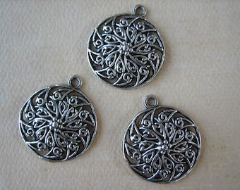 3PCS - Circle Charms - Antique Silver - 25mm - Findings by ZARDENIA
