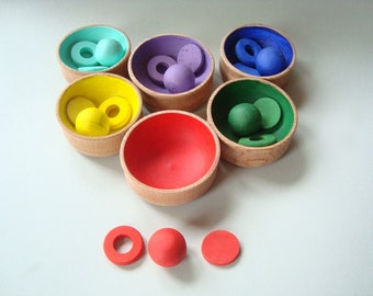 Sorting toy. Wood rainbow toy. Wooden toys