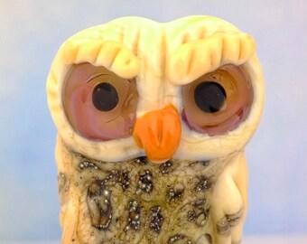 Henri....... lampwork owl  bead............ sra