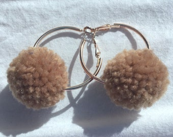 Soft Brown pompom hoop earrings