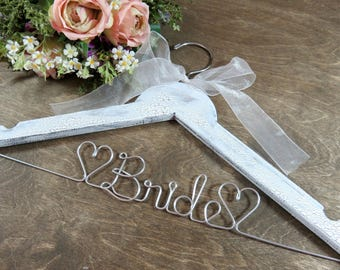 Bride Hanger - Wire Wedding Dress Hangers - Mrs Hanger - Wedding Accessory - Bride to be Gift - Bridal Gift - Gift for Bride - Wood Hangers