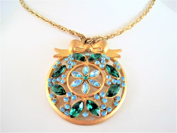 Blue Pendant Necklace, Blue Green Rhinestones, Gold Tone Chain, Bow Bail Top