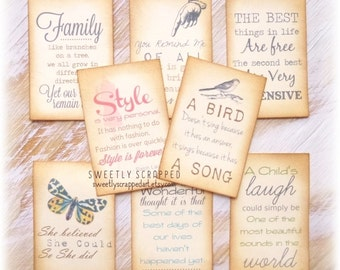 Quote Journal Cards, Prompts, Scrapbooking, Filler Cards, Project Life, Vintage Card