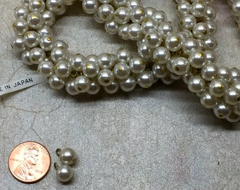 """Japanese glass pearl 1/4"""" in diameter with gold metal loop 10 pieces"""