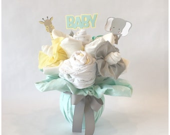 1st Mother's Day Gift Bouquet - Gender Neutral Baby Gift Basket - Baby Clothing Bouquet - Baby Washcloth Bouquet - Baby Shower Gift /Bouquet