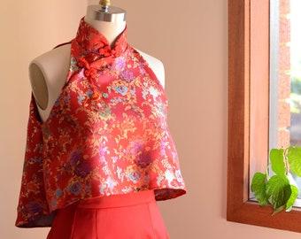 TEA CEREMONY SET | wedding dress, cheongsam, qipao, oriental dress, mother of the bride, bridesmaid dress, cropped top, long skirt