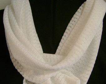 White Lace Knit Infinity Scarf Loop Scarf Circular Scarf