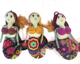 Handmade Mermaid Doll with multi-colored embroidery and yarn