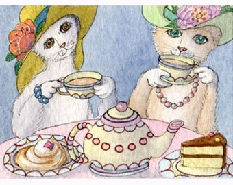 Cats in hats taking tea (and cake) 8x10 print