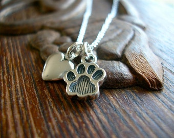Must Love Dogs and Cats Charm Necklace - Sterling Paw and Heart on Sterling Chain