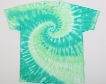 gone by June 9th! get it NOW! OOAK Hand Made, Size Youth M 10-12, Tie Dye Spiral, 100% Preshrunk Cotton, Beefy Weight, Short Sleeve, Greens.