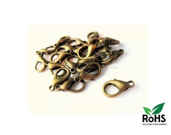 Brass AA - 10mm or 12mm - 10 or 100 Bronze Lobster Clasps
