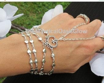 Sale Bridal Slave Bracelet Ring Bracelet Hand Jewelry, Wedding, Love Bracelet, Heart Jewelry, Hippie Bracelet, Custom, The Mystical Oasis Gl