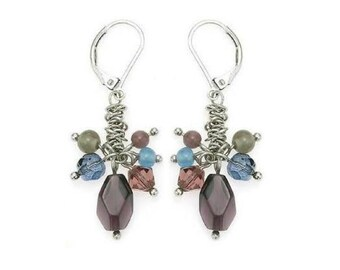 Amethyst Drop Earrings, Purple Drop Earrings, Wire Wrapped Dangle Earrings, Puprle and Silver Jewelry, Purple and Silver Earrings
