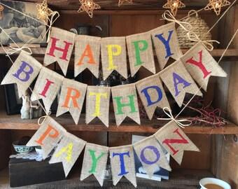 Colorful Burlap Birthday Bunting
