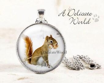Squirrel Necklace - Silver Squirrel Pendant, Red Squirrel Jewelry, Winter Wildlife Photography, Woodland Animal Necklace, Squirrel in Snow