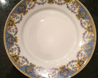 Blue and yello Limoges plate. Medium