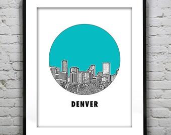 Denver Skyline Poster Art Print Colorado CO Round Item T1250