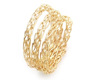 Stacking ring, unique wire crochet stack ring in gold filled, or silver or rose gold , custom size
