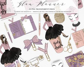 Glam Planner Clipart, Girl Boss Clipart, Planner Girl, Fashion Illustration, Coffee, Gold, Rose Gold, Washi Tape, Glitter, Planner
