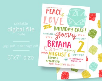 Hippie 70s Birthday Invitation DIGITAL FILE groovy birthday hippie van party invite tie dye birthday blast from the past