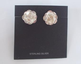 Large Rose .925 Sterling Silver Studs Post Earrings