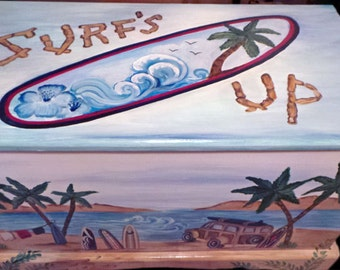 """Custom designed """"surfboard """" toy box kids furniture, art and decor, wooden toy box"""
