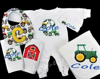 Personalized Farm Tractor Baby Gift Set / Sleeper, Blanket, 2 Burpcloths and Bib