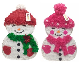 Two Sided Christmas Snow Girl Snowman Pinata Christmas Gender Reveal