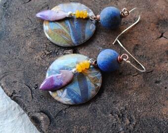 Floral Earrings, Enamel Earrings, Purple Earrings, Blue Earrings, Stone Bead Earrings, Boho Earrings, Artisan Enamel,