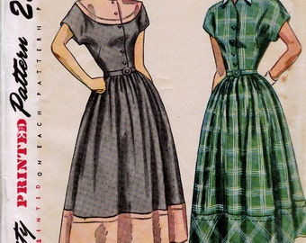 Bust 30-1940's Misses' One-Piece Dress with Detachable Collar  Simplicity 2481  Size 12