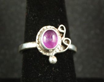 Amethyst and Sterling Silver Ring Size 8 1/4