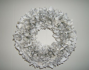 Vintage Sheet Music Upcycled Paper Wreath 14""