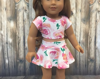 SALE-2 piece outfit-fits American Girl Doll clothes/18 inch doll clothes/doll skater skirt/doll crop top/like AG doll clothes