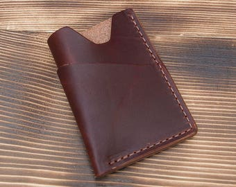 Mahogany Full Grain Leather Minimalist Front Pocket Card Wallet made in USA