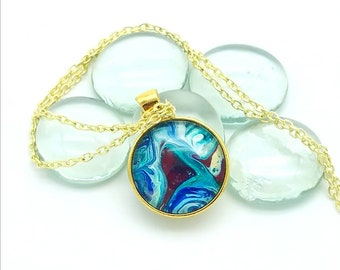Painted Glass Pendant Gold Layering Necklace Metallic Teal Crimson Blue Wearable Art 2018 Trend Mother's Day