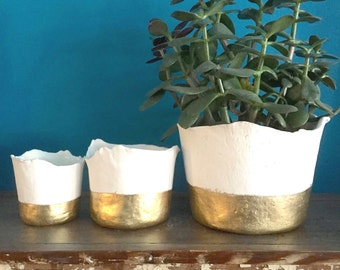 "Pre-order: Ceramic Gold ""dipped"" planter with drainage hole and tray, Large to small planter, apartment decor, gold decor, minimalist decor"